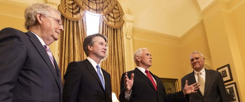 The controversies surrounding Brett Kavanaugh (second from left) and his past are too serious to allow his appointment to the Supreme Court.