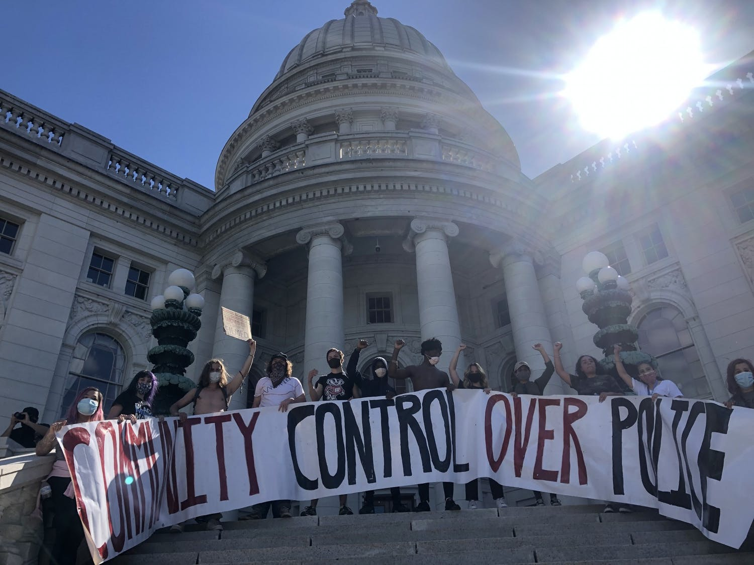 Protesters took the steps of the Capitol Saturday afternoon to peacefully protest police injustice in America.