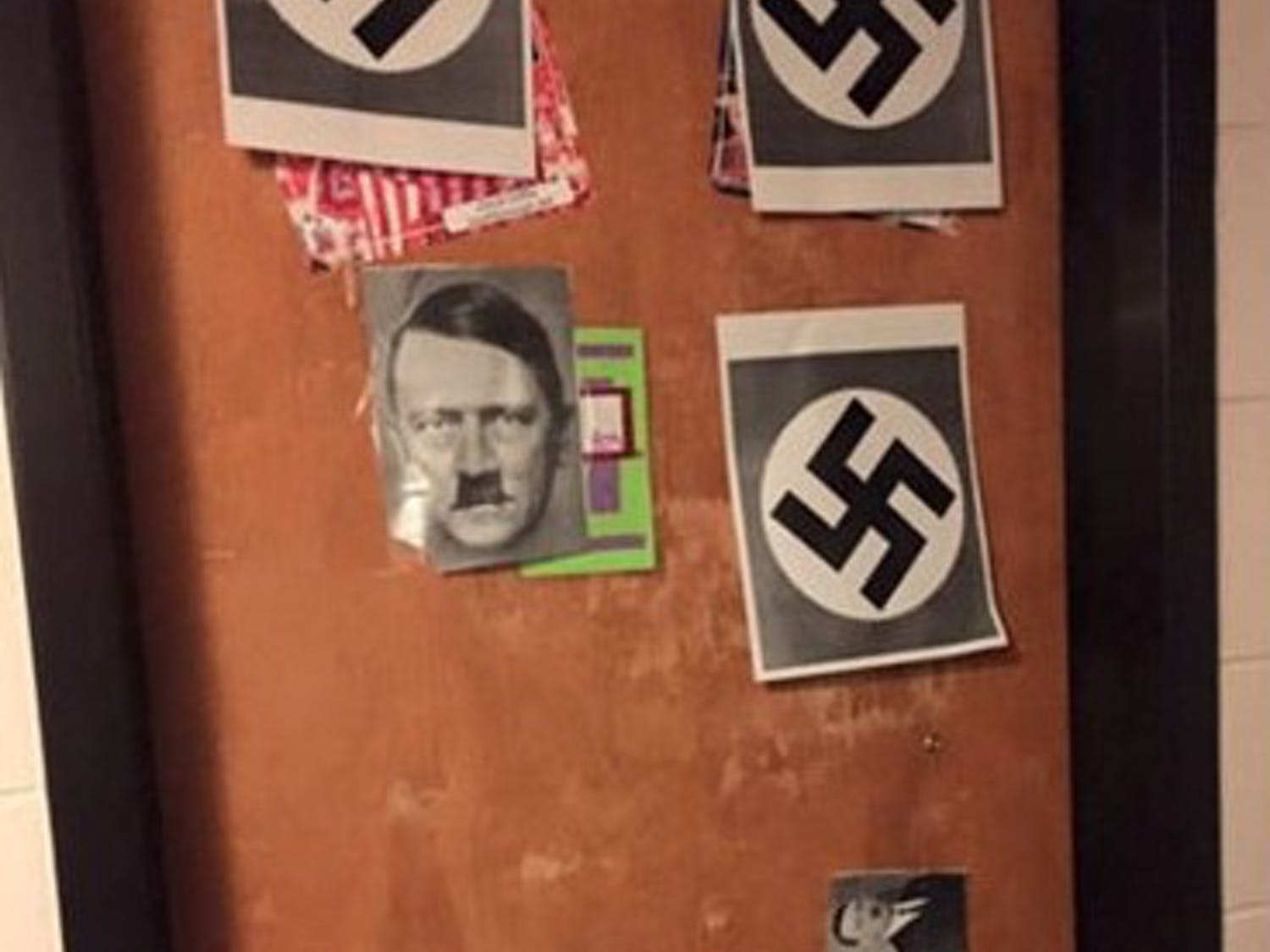 Students taped pictures of Hitler and swastikas to another resident's door Jan. 26.