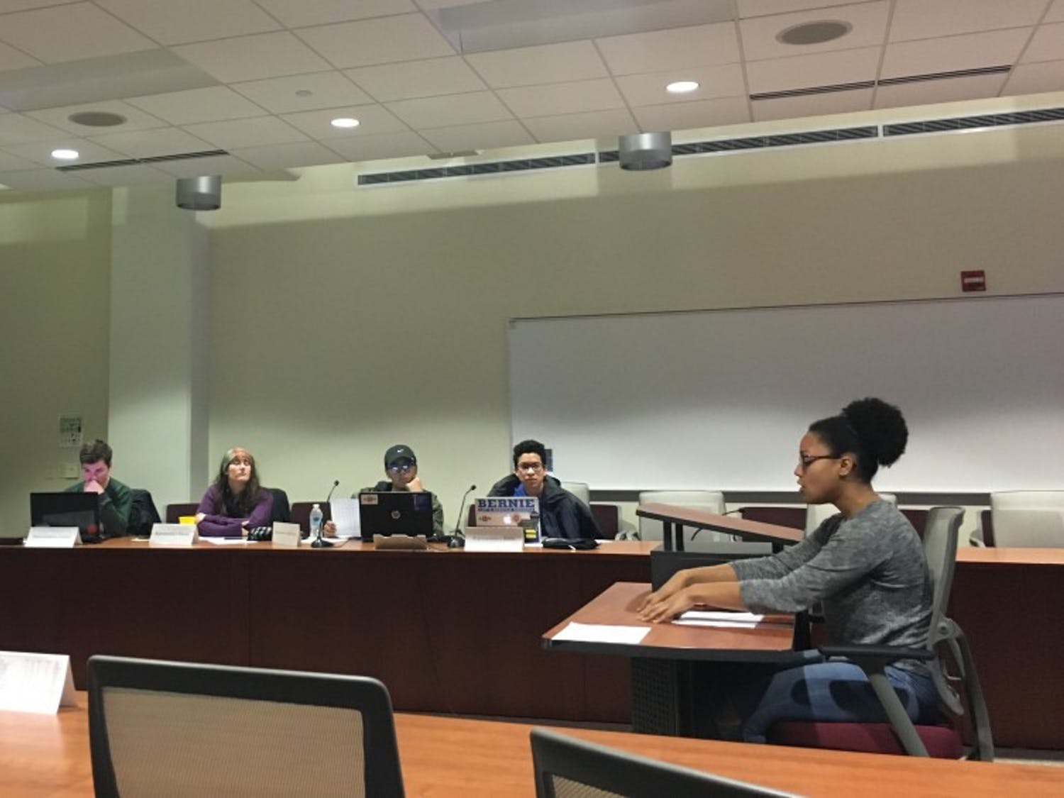 Representatives for two student resources, including Katrina Morrison of the Student Activity Center Governing Board, presented budget proposals to the Student Services Finance Committee Thursday.