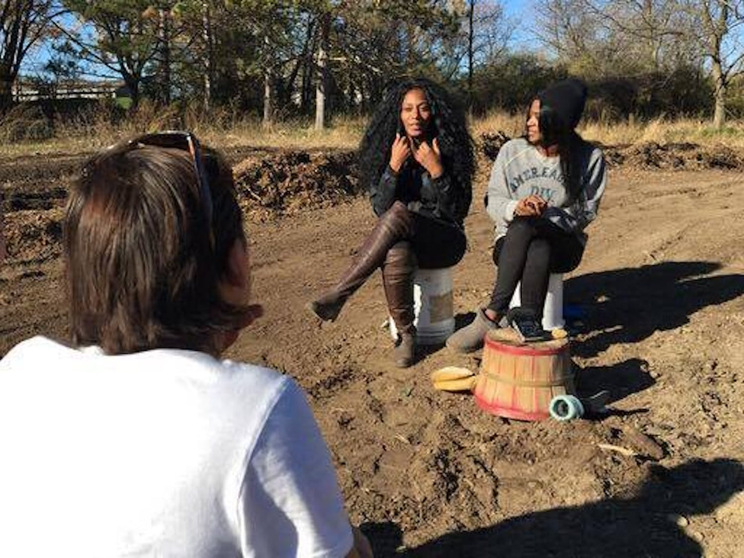 """Nyal Mueenuddinn and Mattie Naythons interviewed subjects for their film """"Break the Cycle,"""" a documentary they created for a course that focuses on the connections between food insecurity and racial inequality."""