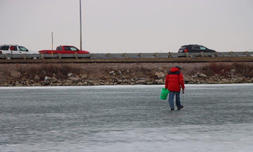 Ice fishing on Lake Monona