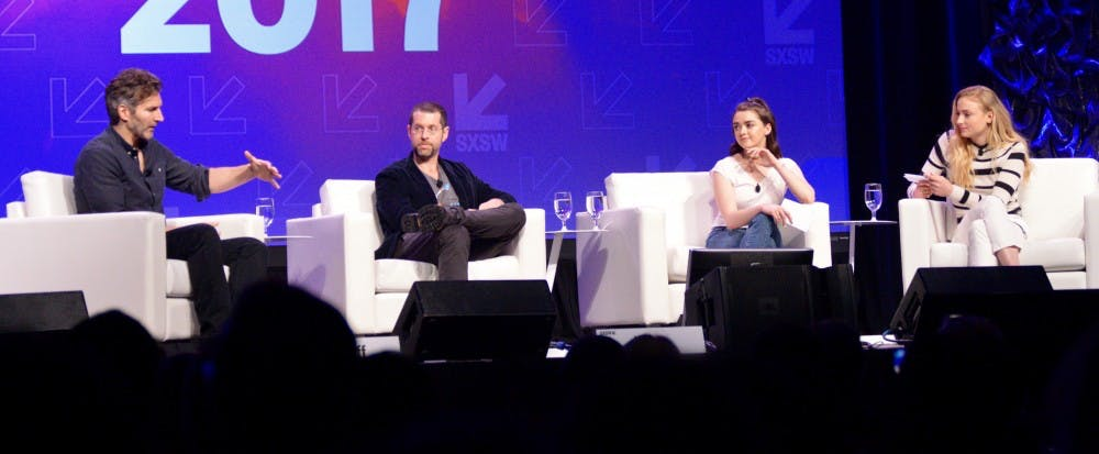 "From Left: David Benioff, D.B. Weiss, Maisie Williams and Sophie Turner discuss the behind-the-scenes details of ""Game of Thrones."""