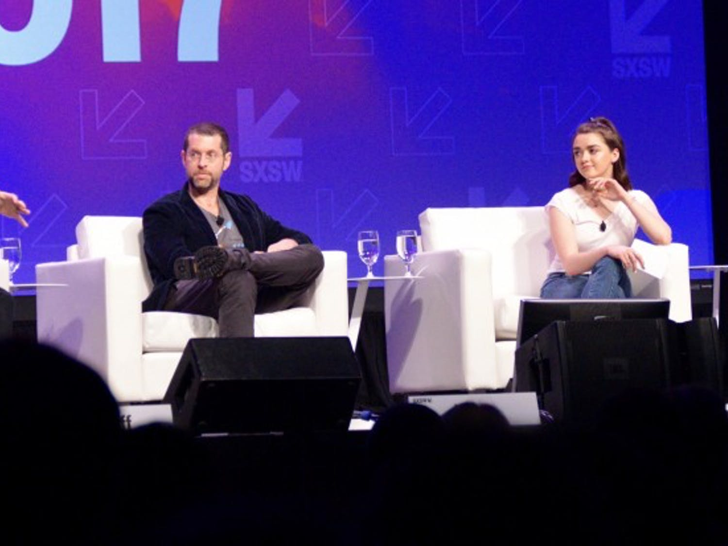 """From Left: David Benioff, D.B. Weiss, Maisie Williams and Sophie Turner discuss the behind-the-scenes details of """"Game of Thrones."""""""