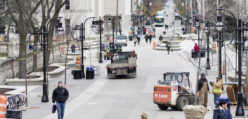 Since construction finished on Library Mall, food cart owners say seating is better, but space and electricity are lacking.