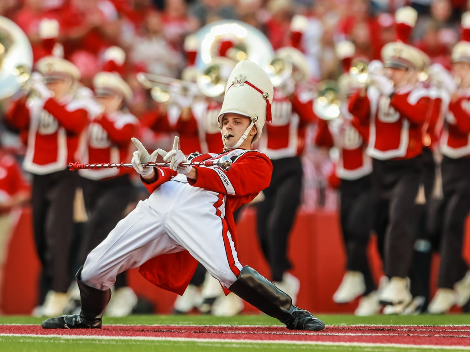 Photo of the UW Marching Band drum major.
