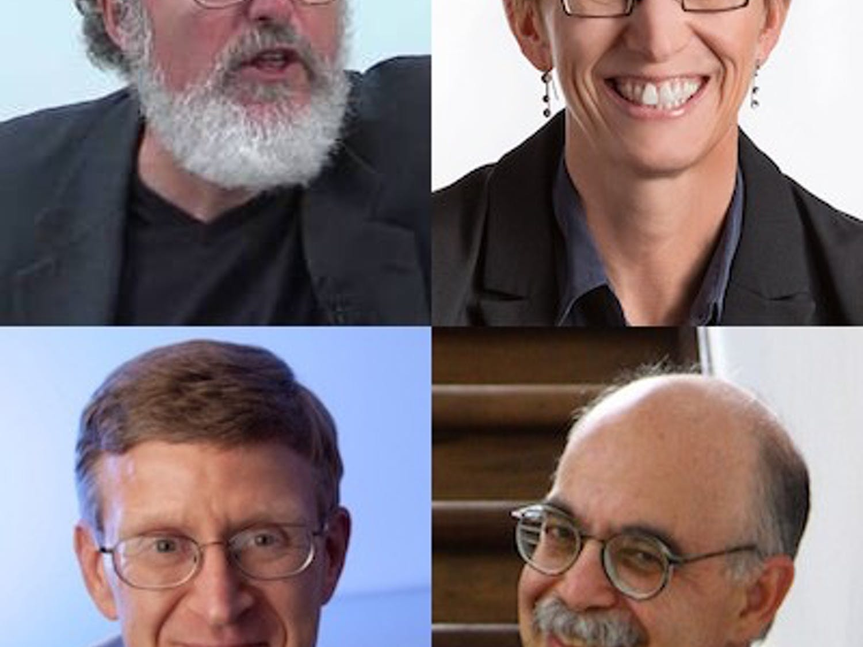UW-Madison professors Michael Apple (clockwise from left), Laura Kiessling, Steve Stern and Paul Ahlquist are the four 2016 Hilldale Award winners.