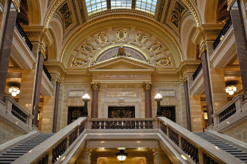 Entrance to the Wisconsin Supreme Court in the State Capitol in Madison