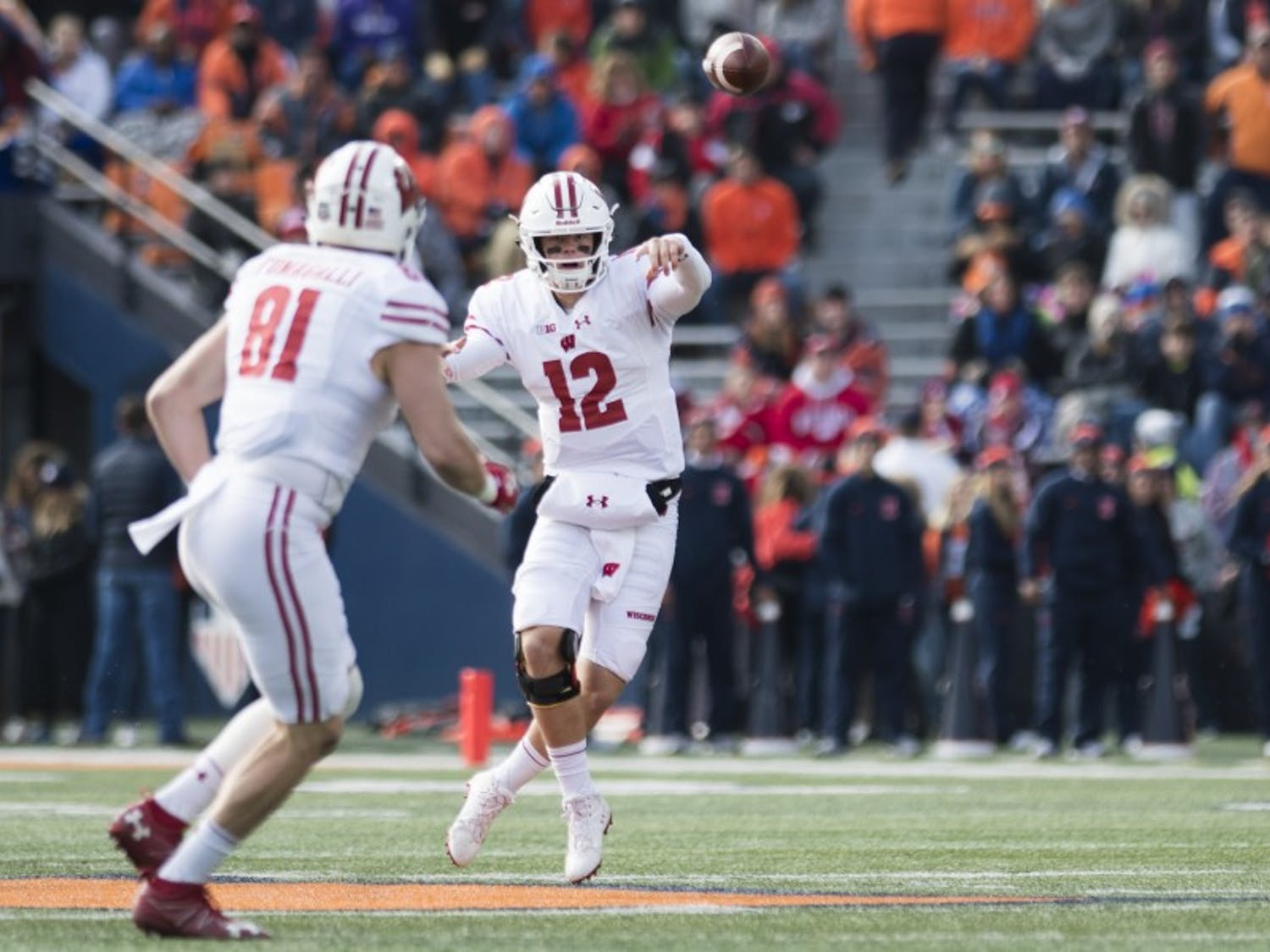 Quarterback Alex Hornibrook had a career game against BYU in 2017, and he'll need to rely on his deep receiving corps to replicate that performance on Saturday.
