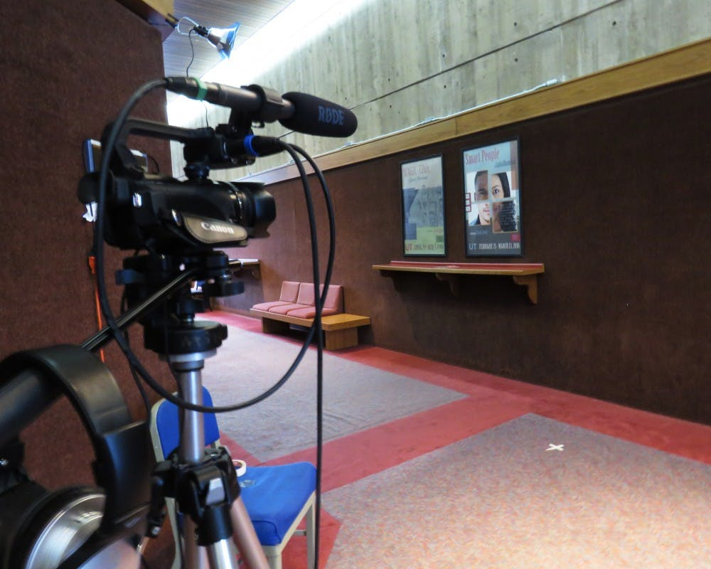 A camera in Mitchell Theatre recorded student responses about what issues of race mean to the Madison community.