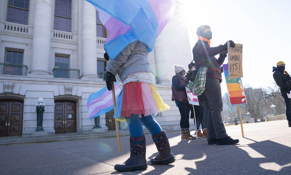 A rally held to support trans athletes.