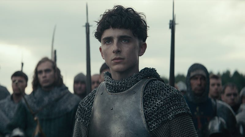 "Timothée Chalamet stars as King Henry V in ""The King"", available on Netflix."