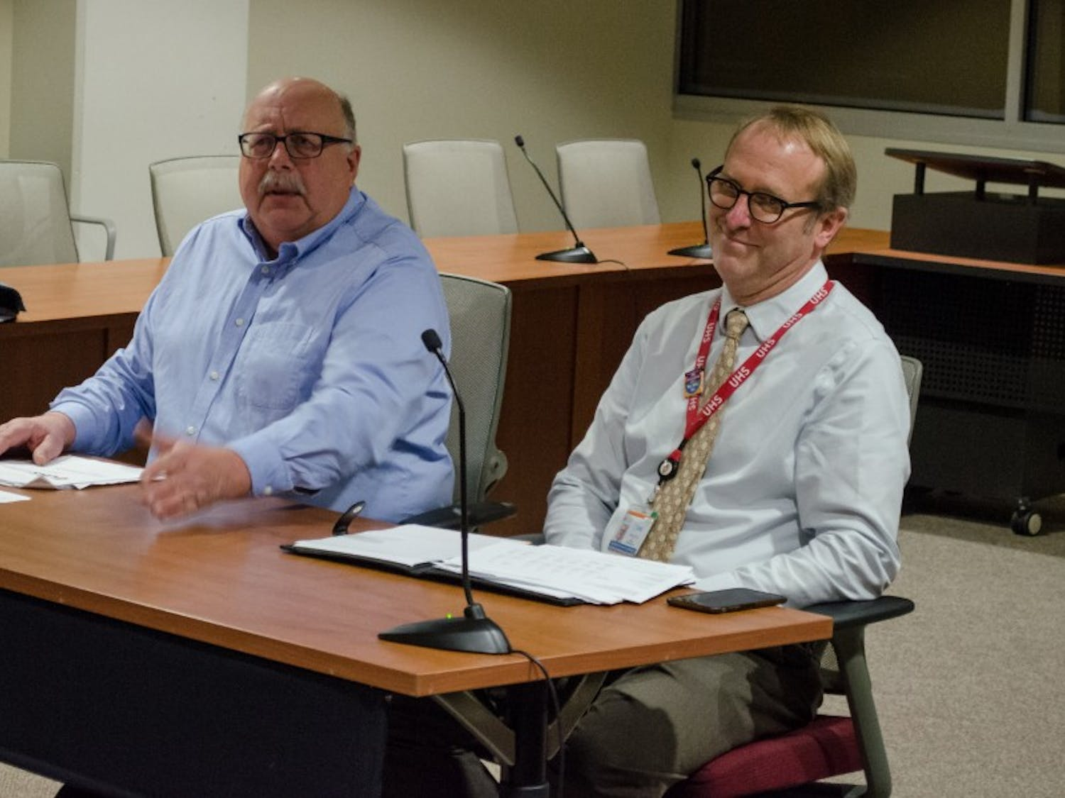 Arnold Jennerman and Bill Kinsey, interim co-directors for University Health Services, presented a budget proposal for 2018-19 to the Student Services Finance Committee.