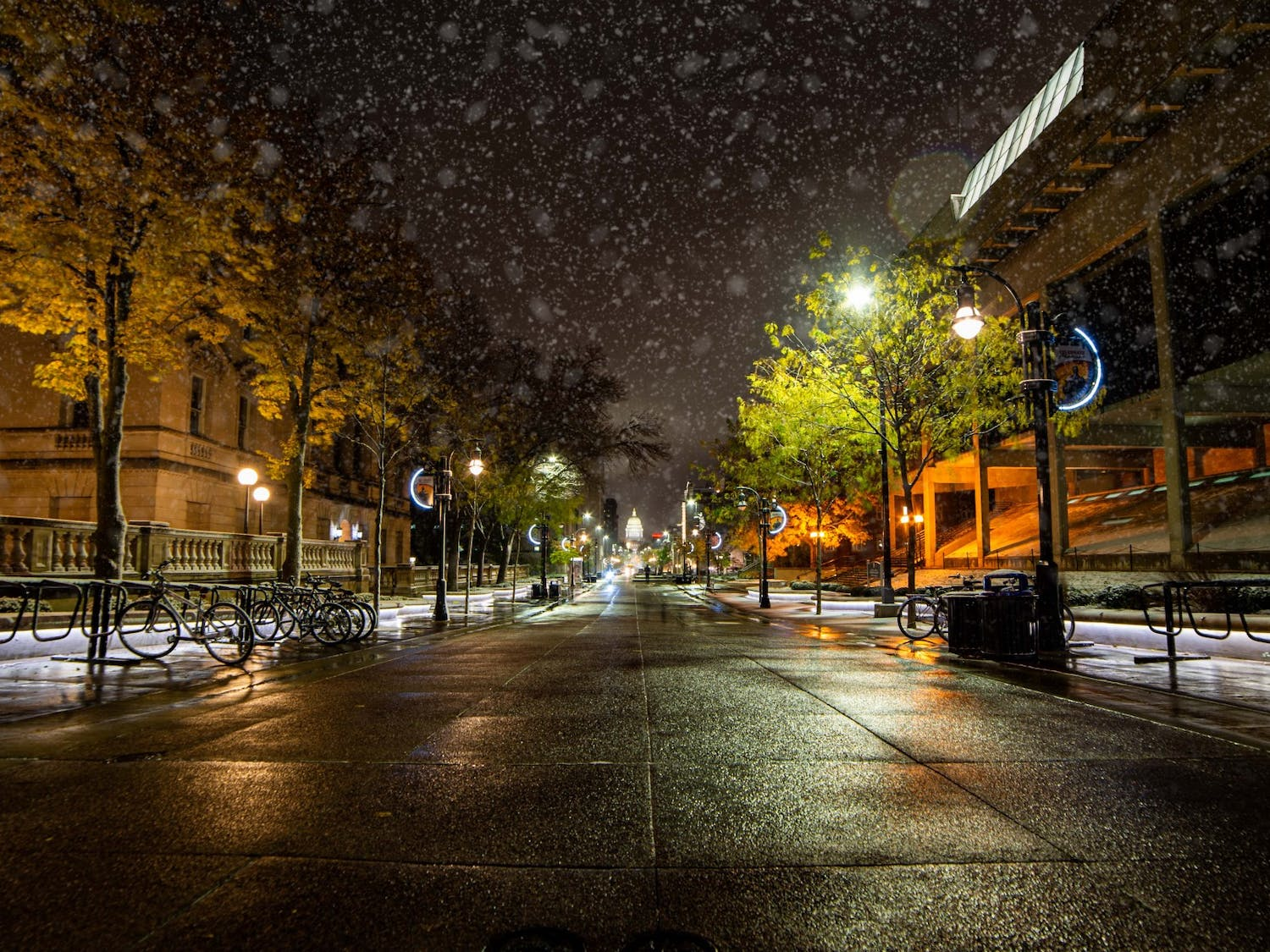 Trick-or-treaters all over Madison had to shuffle through more than three inches of snow Thursday night, a new high for the city.
