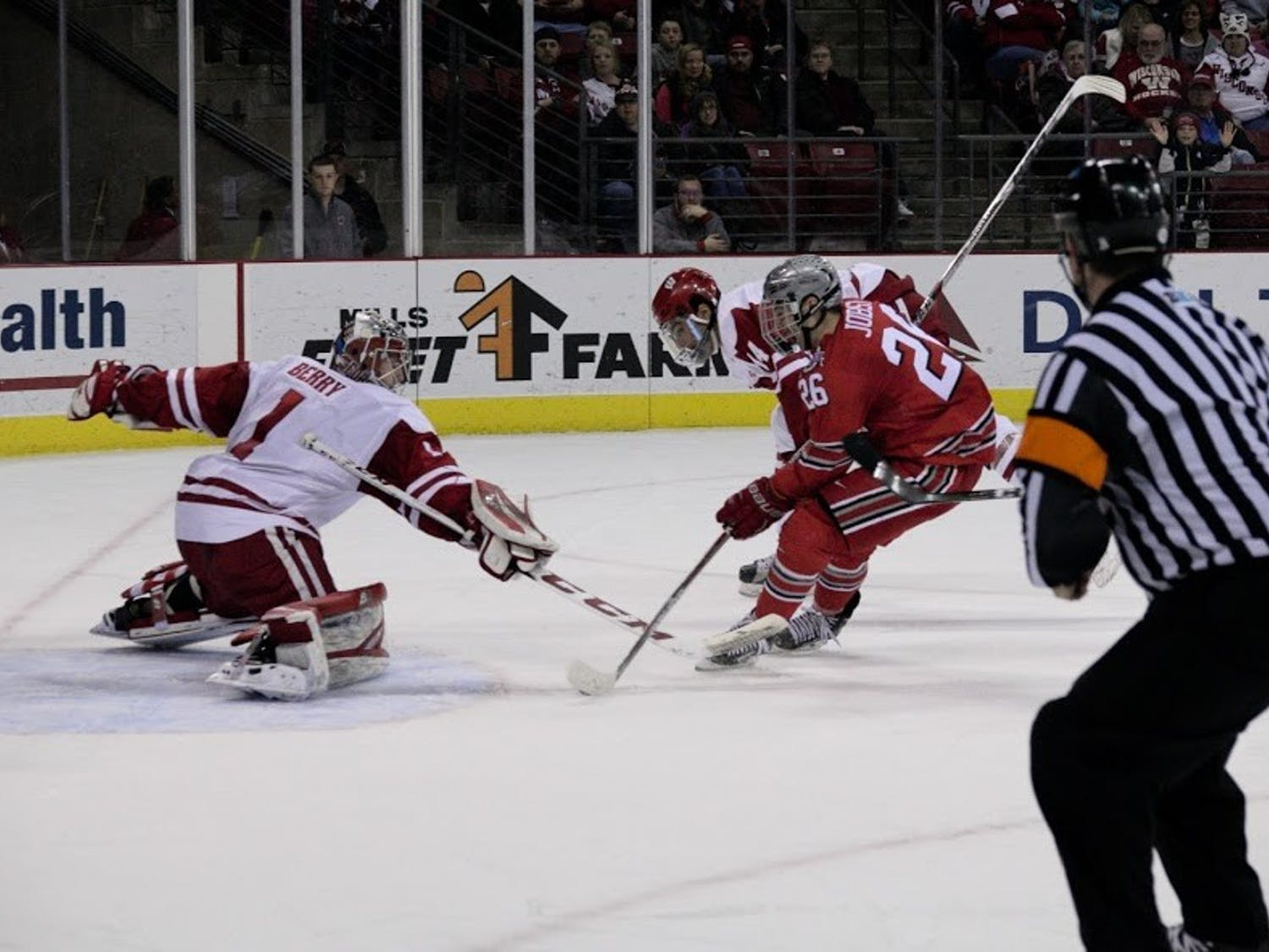 Mason Jobst racked up eight points against UW last season, including an assist on a last minute goal that sent its game in Madison Square Garden to overtime.