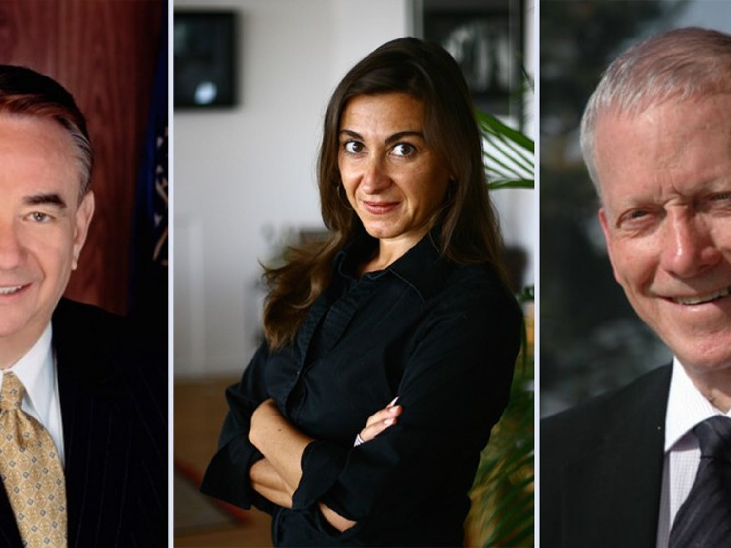 Left to right: Former Wisconsin Gov. Tommy Thompson, photojournalistLynsey Addario and biochemist William J. Rutter will be honored by UW-Madison with honorary degrees in a spring ceremony.