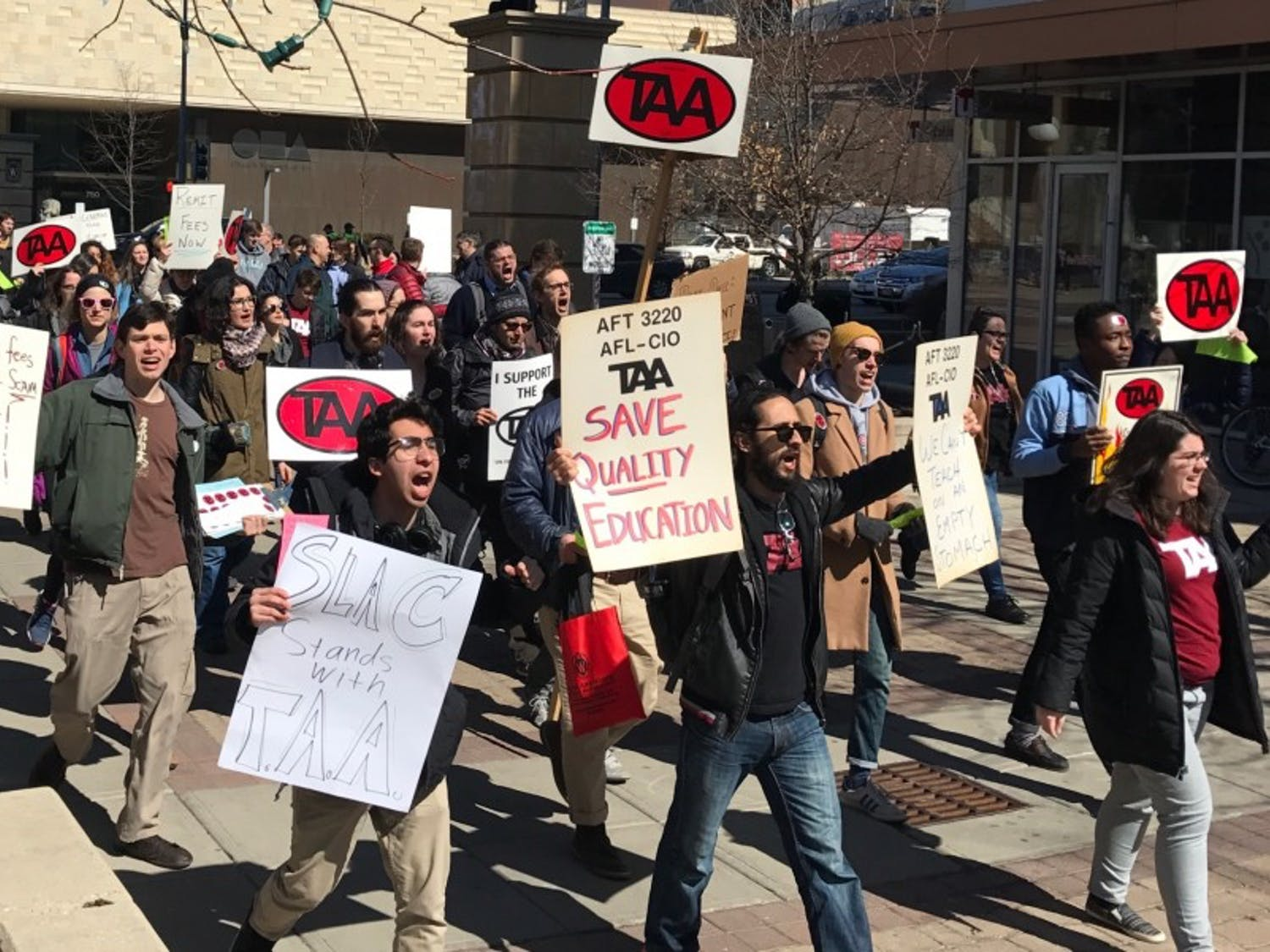 The Teaching Assistants Association called upon university administration to raise graduate student wages.