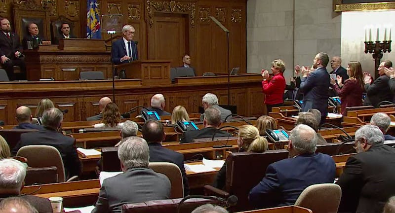 Evers promotes his plans as governor and highlights the value of bipartisanship, but Vos believes he is still too one-sided.