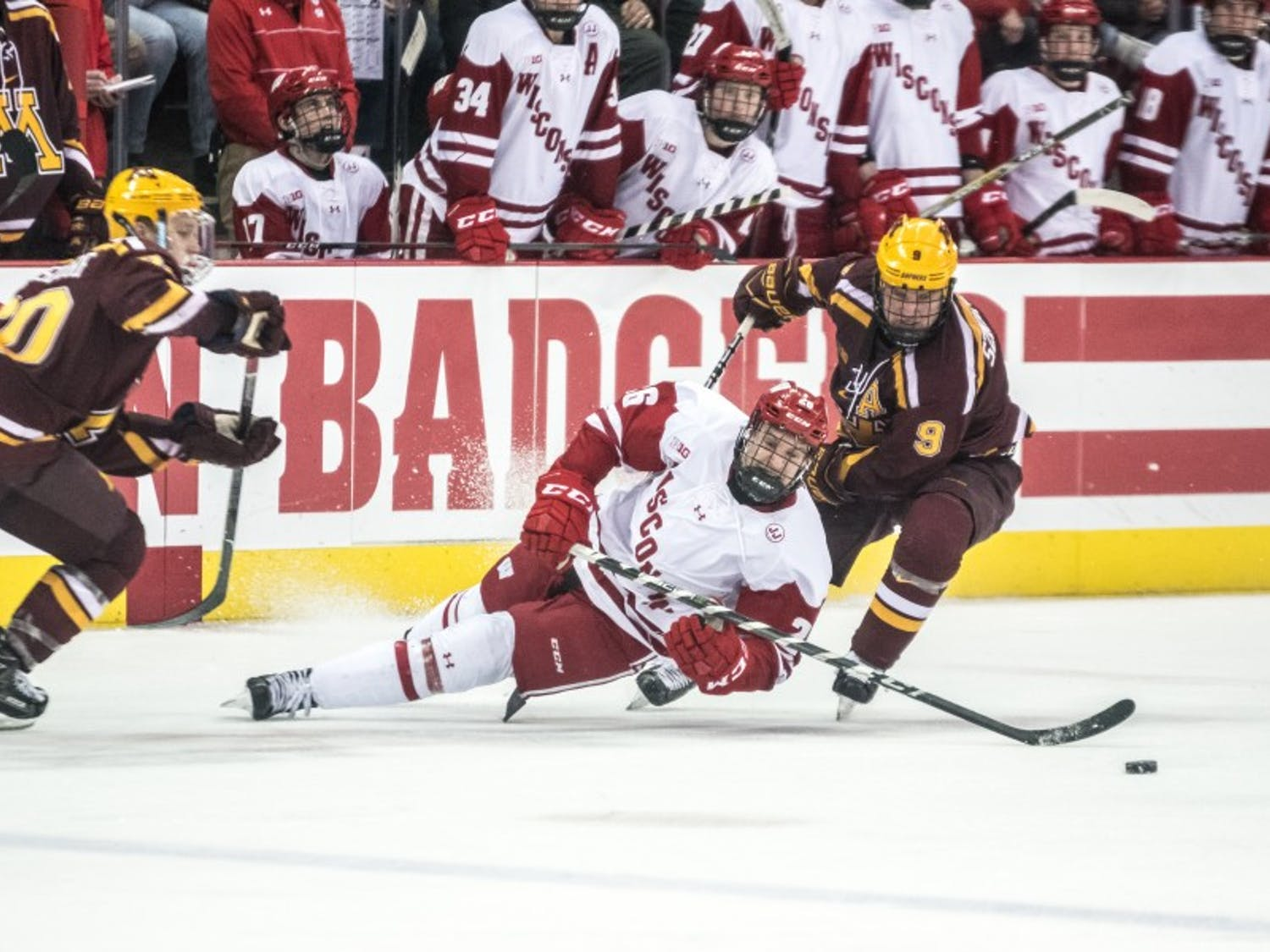 Wisconsin gave up three goals in 74 seconds in a stretch that cost them a game in which they otherwise performed well.
