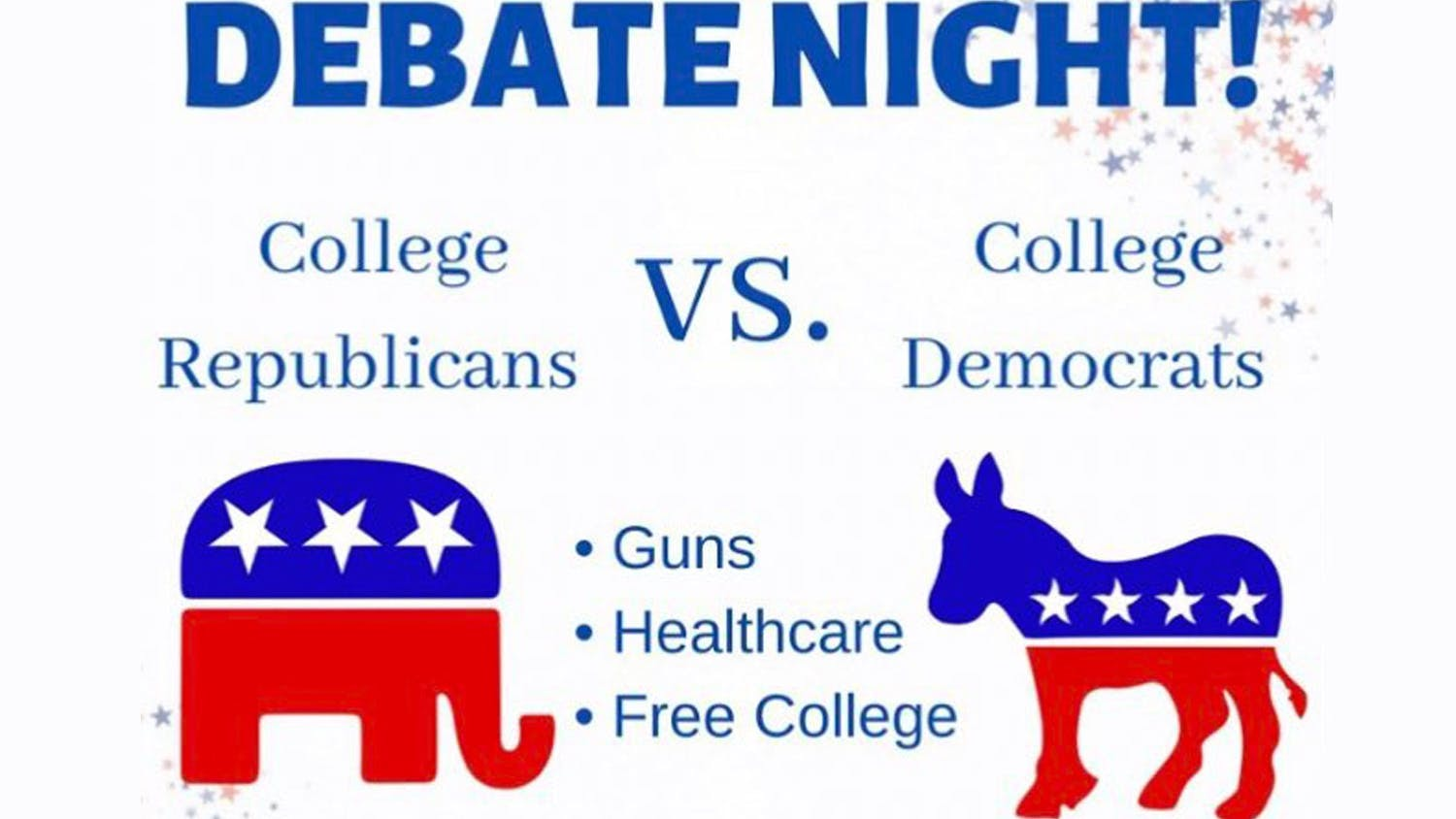 Poster for a debate between the College Republicans and the College Democrats.