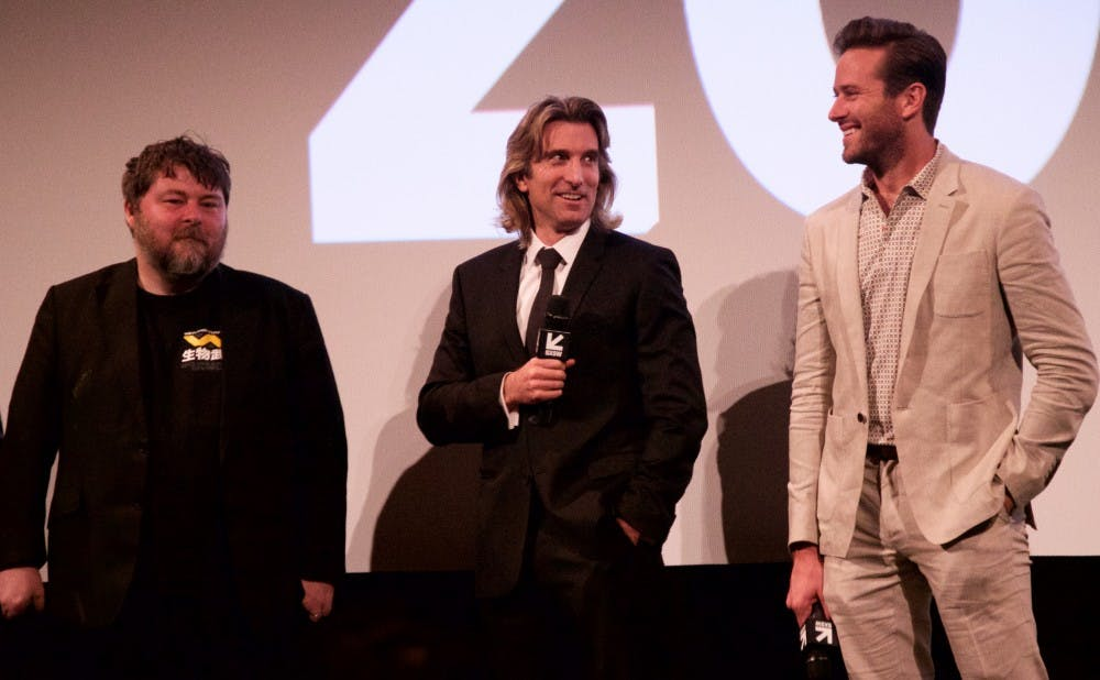 """From left: Ben Wheatley, Sharlto Copley and Armie Hammer attended thepremiere of """"Free Fire"""" at SXSW."""