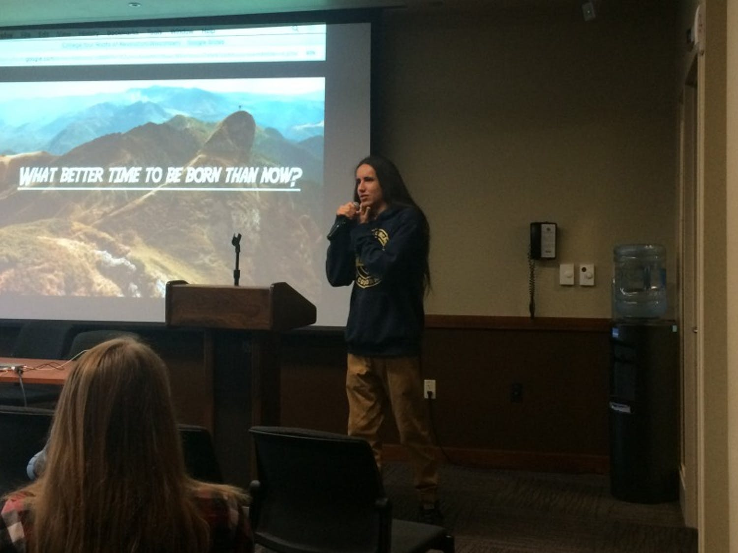 Sixteen-year-old climate change speaker Xiuhtezcatl Martinez spoke about engaging young people in environmental discussions at Union South Monday.