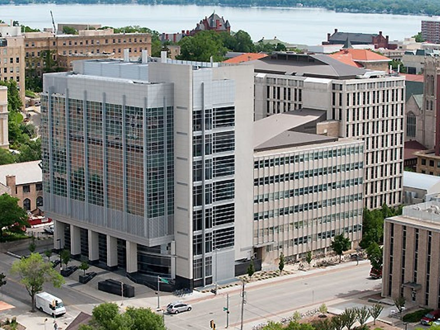 The Chemistry Building at the University of Wisconsin-Madison is pictured on June 10, 2010. The view, which includes Lake Mendota in the background, is from the roof of the Atmospheric, Oceanic and Space Science Building.