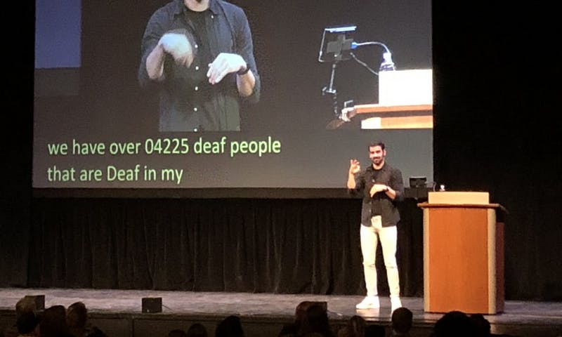 DiMarco described his first encounters using sign language with both the hearing and deaf communities at his lecture as part of the Wisconsin Union Directorate's Distinguished Lecture Series.