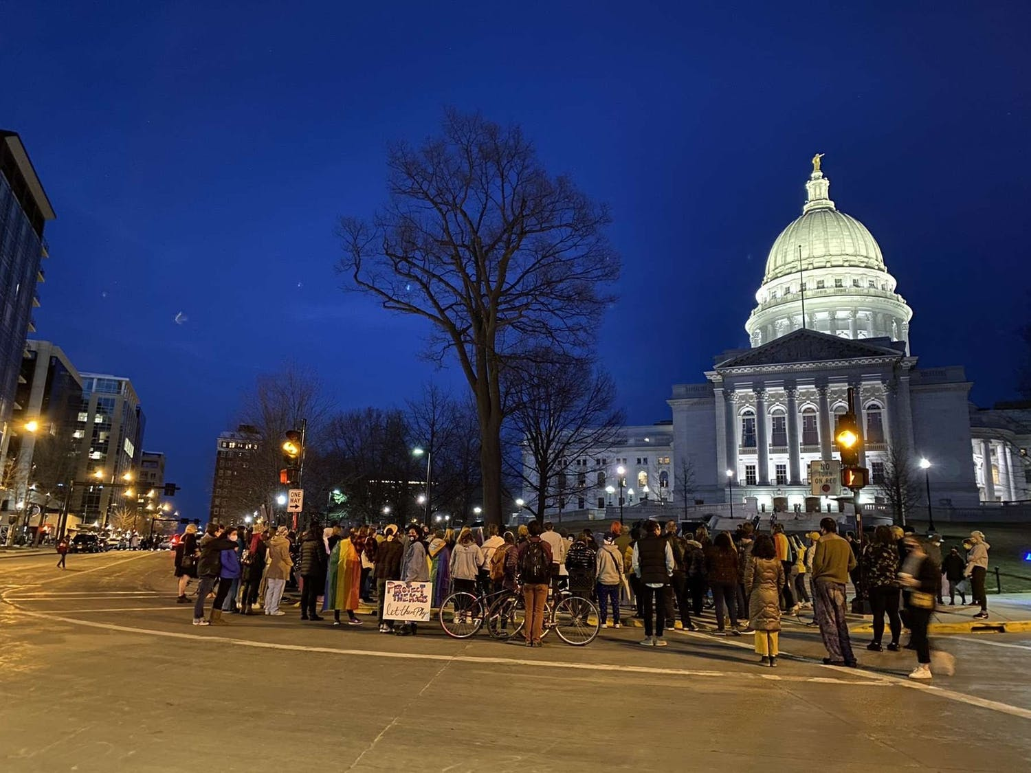 A protest at the capitol in opposition of the transgender sports bill in motion.