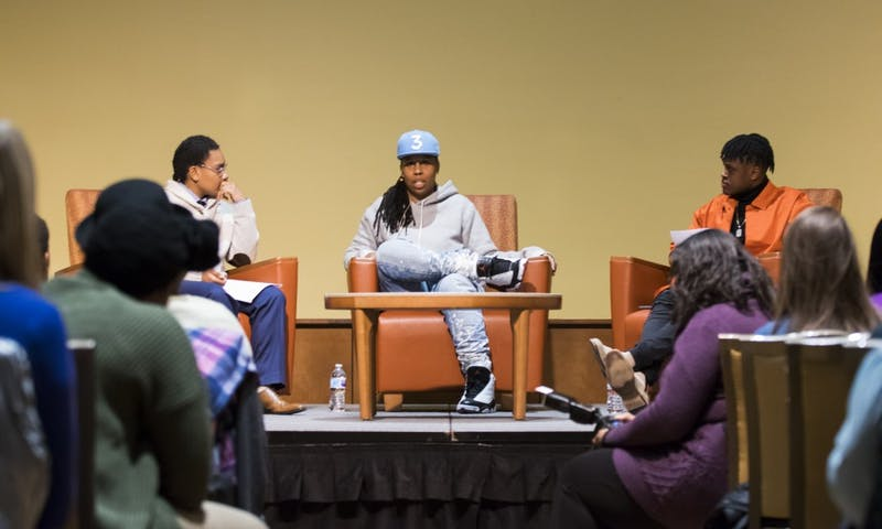 Lena Waithe, an Emmy award winning screenwriter, producer and actress, spoke as the Black History Month keynote speaker, fielding questions on her experience in the entertainment industry and identity as a queer woman of color.