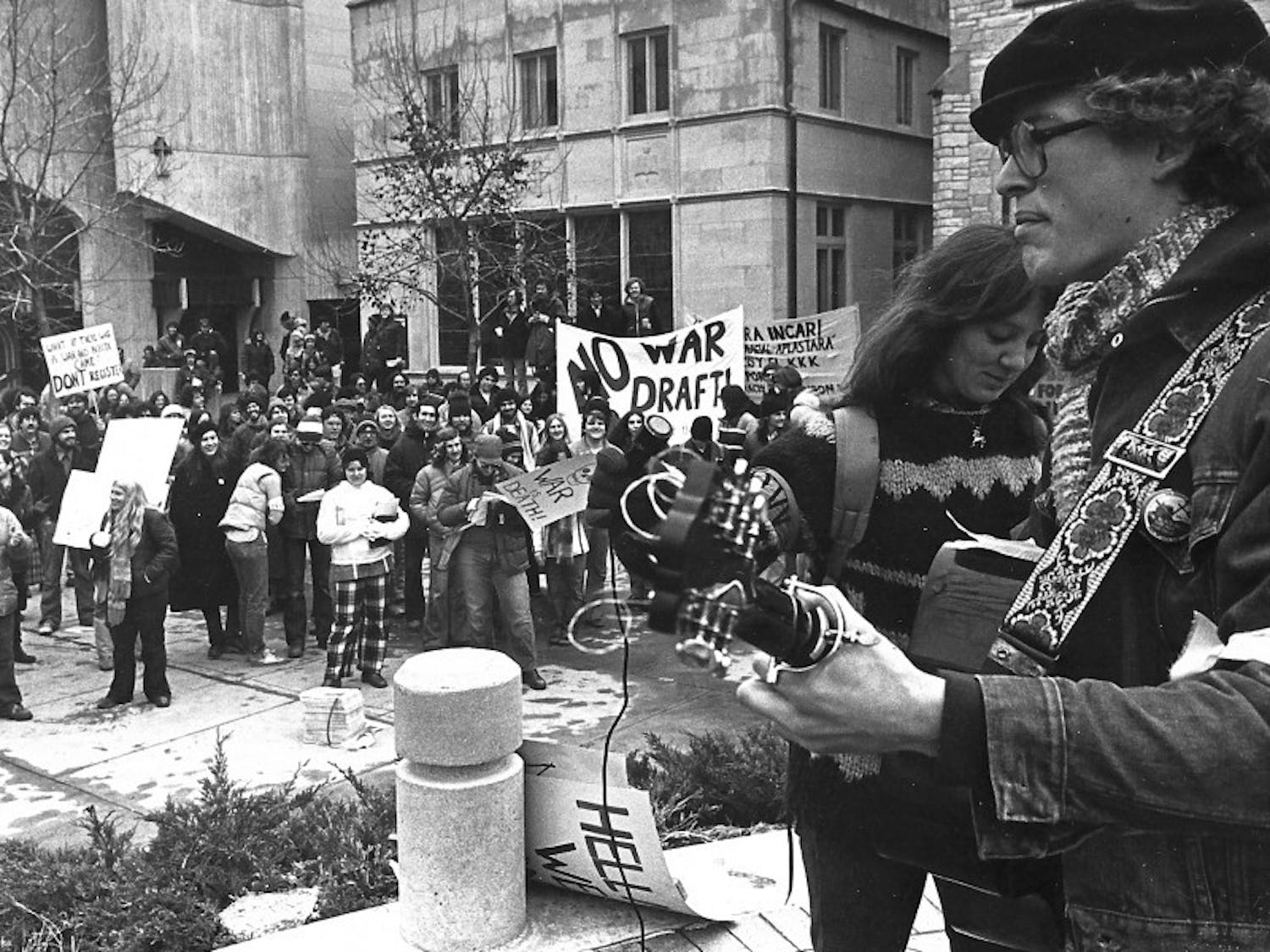 Photo of a Vietnam War protest at UW-Madison from the Daily Cardinal Archives.