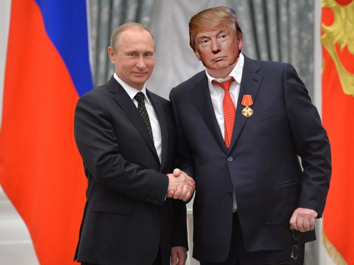 """Putin awarding comrade Donald Trump the highly coveted Russian award for """"Best Golden Shower."""""""
