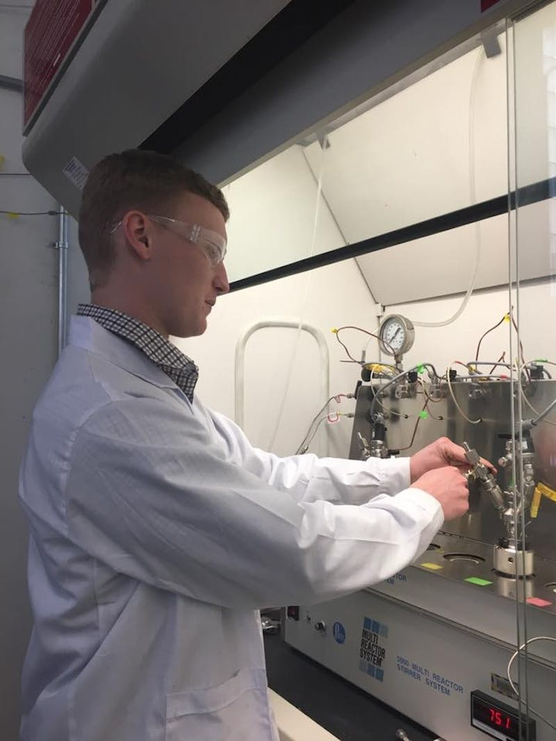 Kevin Barnett works in a lab at thedepartment of energy bioenergy technologies office at UW-Madison to better the procedure for deriving1,5-pentanediol, apossible substitute for a petroleum-like chemical.