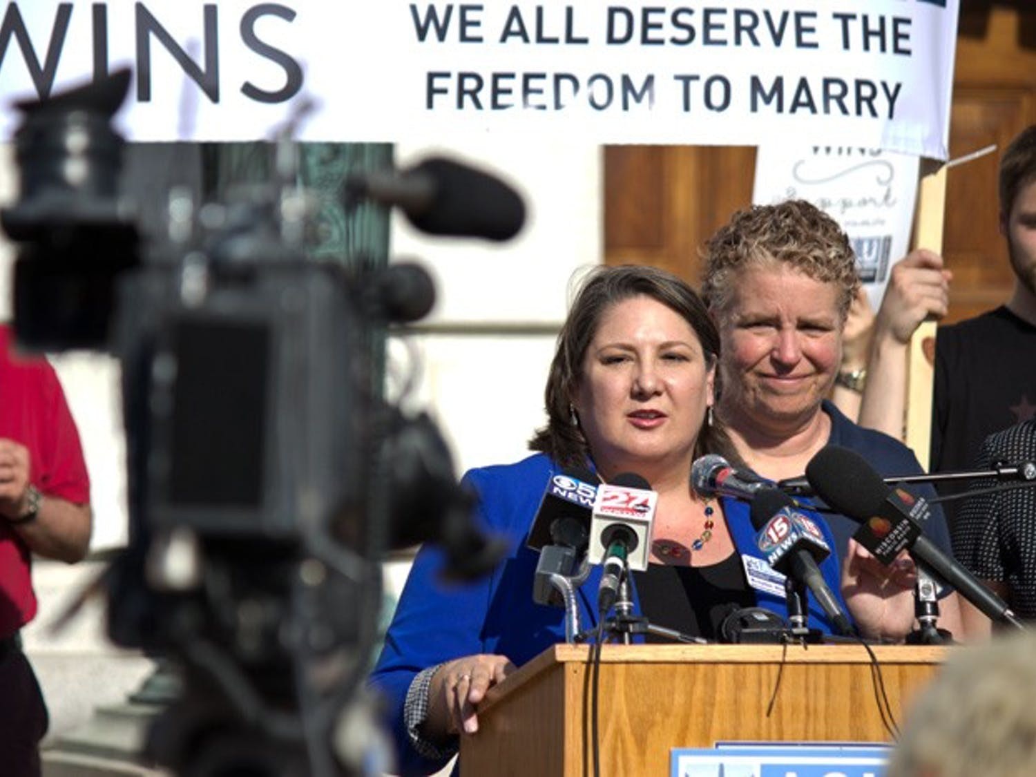 U.S. District Court Judge Barbara Crabb declared Wisconsin's ban on same-sex marriage to be unconstitutional Friday June 6, 2014 in her decision on a lawsuit against the ban filed by the American Civil Liberties Union. Couples flock to Madison City Hall to get married following the ruling.