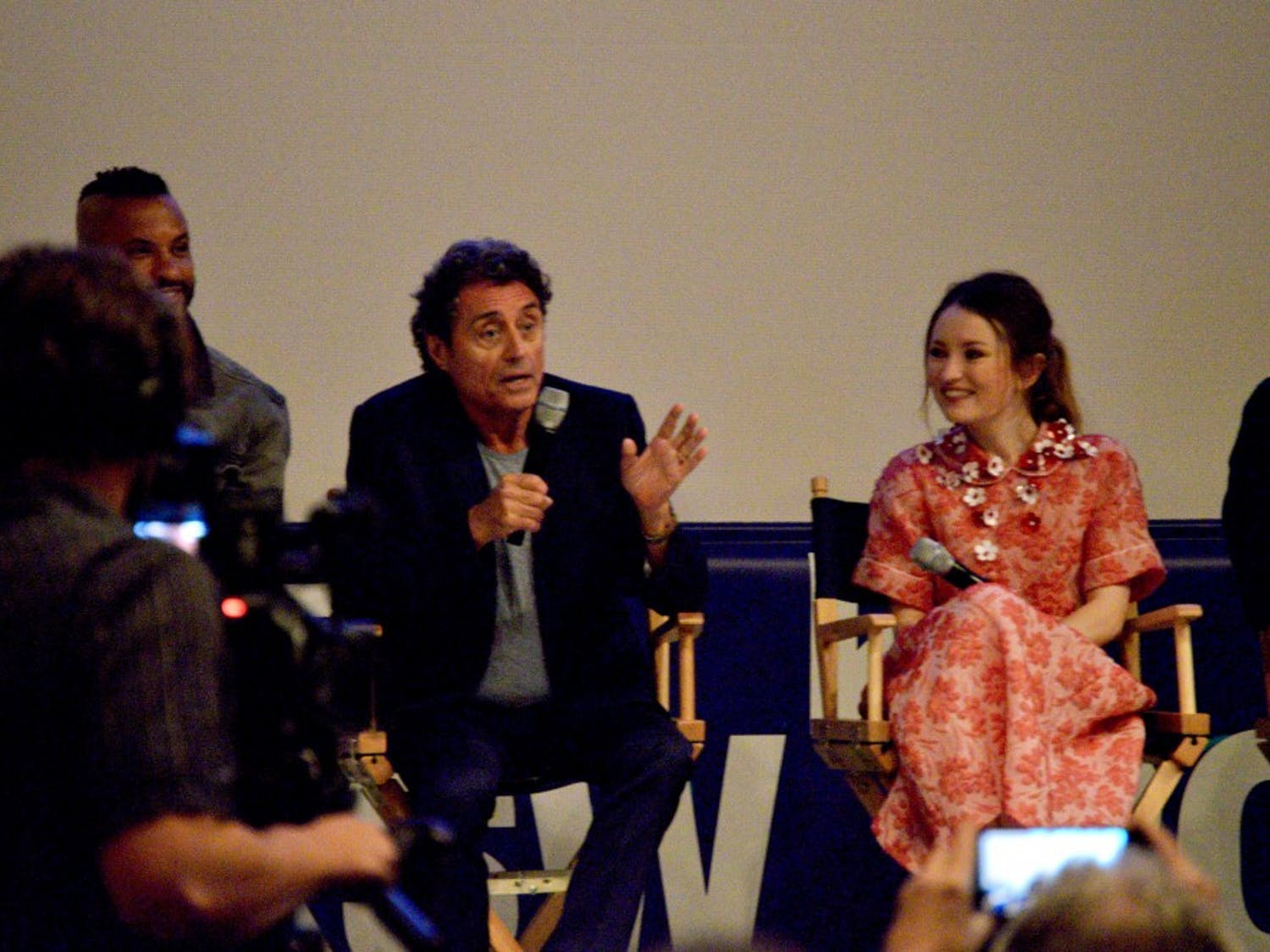 """From left: Ricky Whittle, Ian McShane and Emily Browning discuss what's to comein """"American Gods."""""""