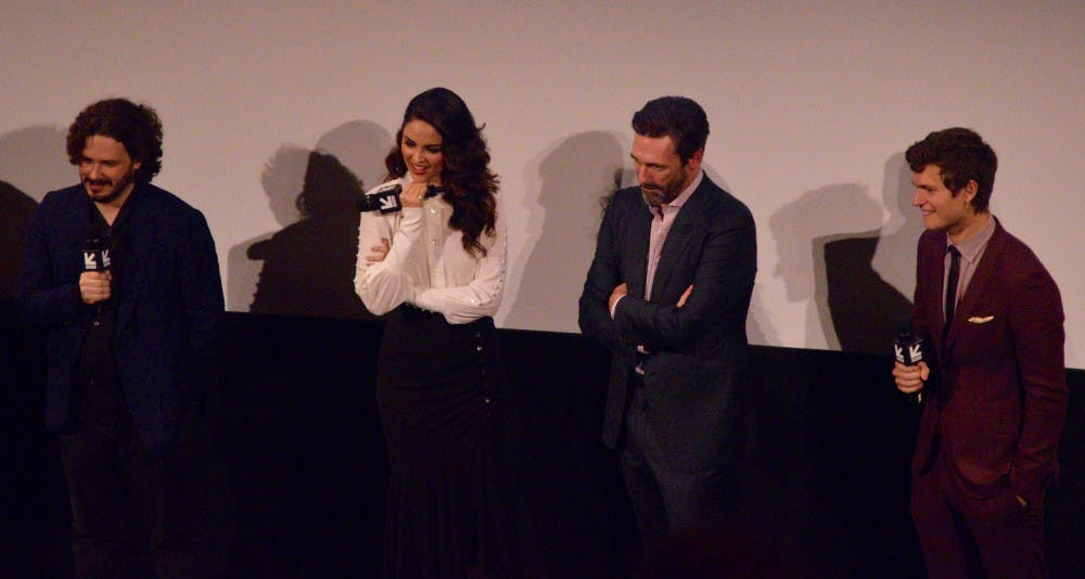 """From left: Edgar Wright, Eiza González, Jon Hamm and Ansel Elgort attend the premiere of """"Baby Driver"""""""