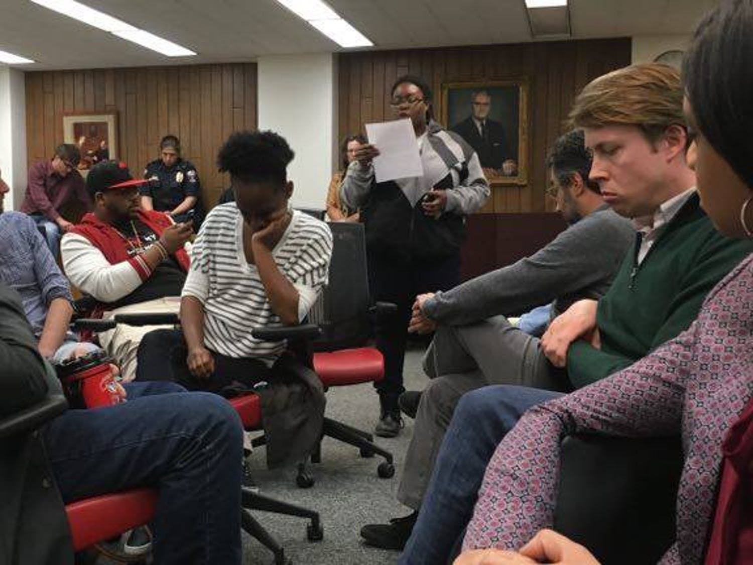 After a recent arrest of a UW-Madison student, members ofUWPD spoke to students and professors in Vilas Hall Tuesday.