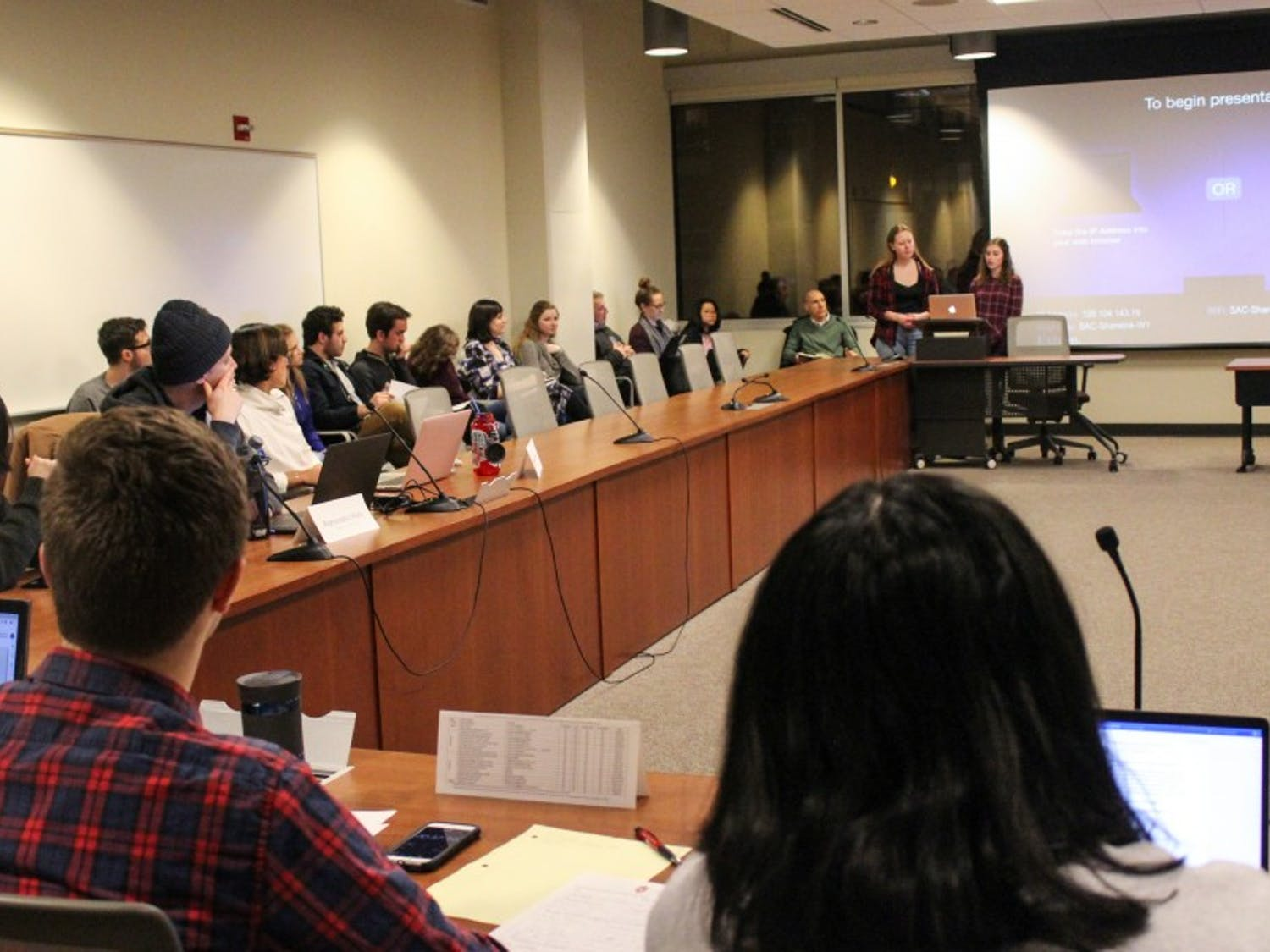 Many students attended the Student Services Finance Committee meeting to express their concern about the lack of funding for mental health services at UW.