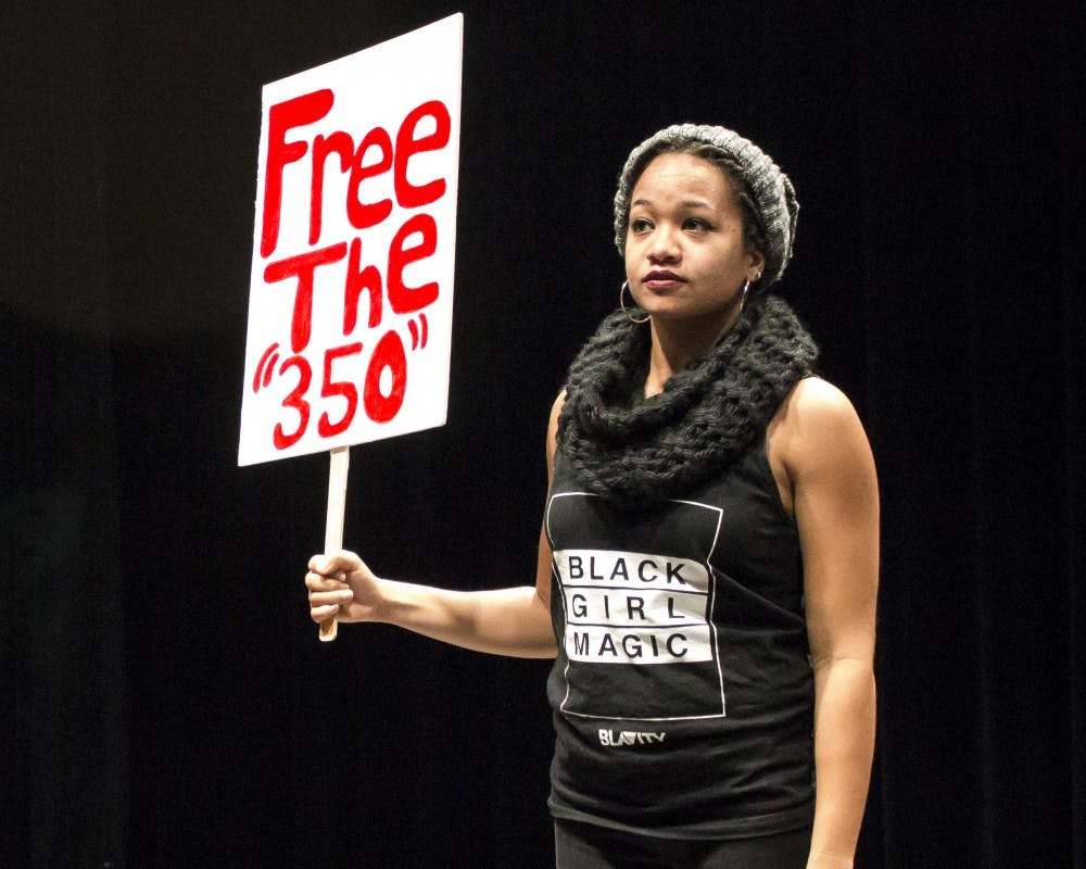 """Memorial Union hosted """"We the 350,"""" which featured stories of poverty, drug addiction, homelessness and incarceration in Dane County, to begin Black History Month."""