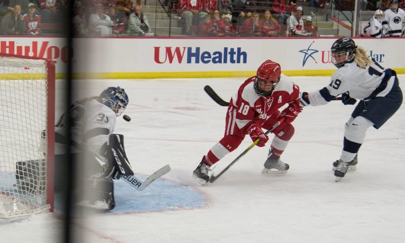 Wisconsin's Abby Roque in front of net in the Badgers' 7-0 win over Penn State. Roque had two goals in the win.