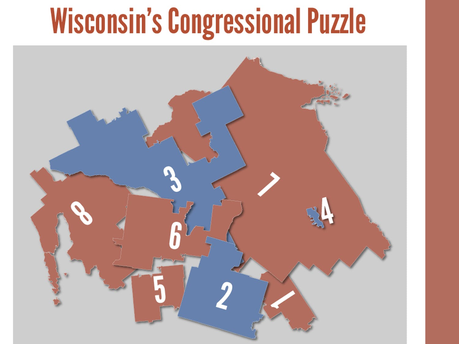 Graphic representing the Wisconsin Congressional districting as a puzzle.