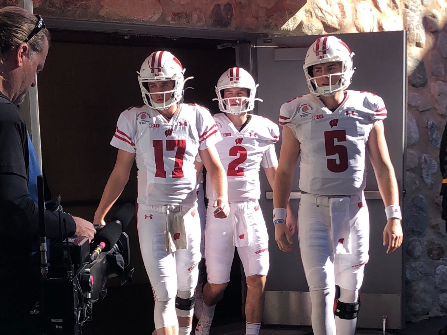 Wisconsin's quarterback room. Left to right: Jack Coan, Chase Wolf, and Graham Mertz.