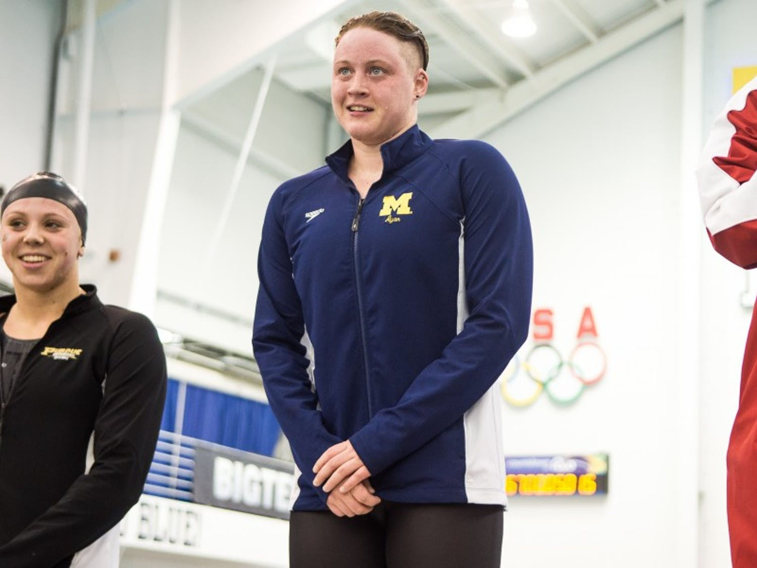 swimming in the Women's Big 10 Championships on February 20, 2016 in Canham Natatorium.  Michigan won with 1,361 points. (Amelia Cacchione/Daily)