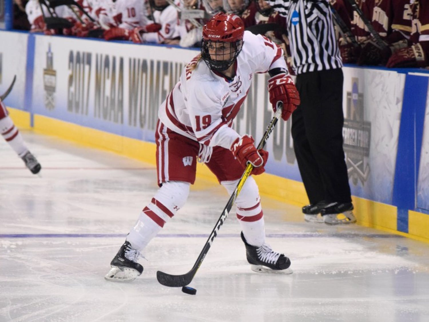 Senior forward Annie Pankowski moved from right wing to center — after losing Emily Clark to an injury — and responded with three points in two games last weekend.