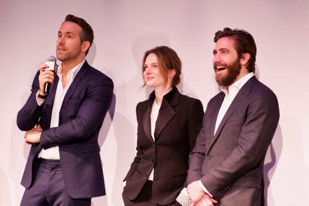 """From left: Ryan Reynolds, Rebecca Ferguson and Jake Gyllenhaal at the premiere of """"Life"""" at ZACH Theatre."""
