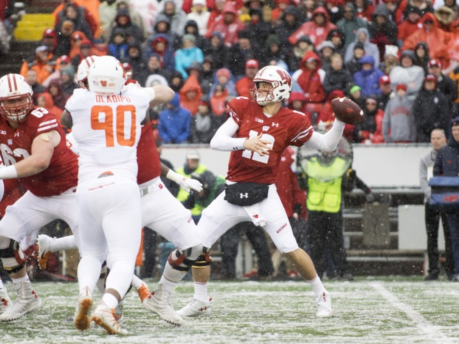 Junior quarterback Alex Hornibrook threw for three touchdowns in Wisconsin's 49-20 win against Illinois on Homecoming.
