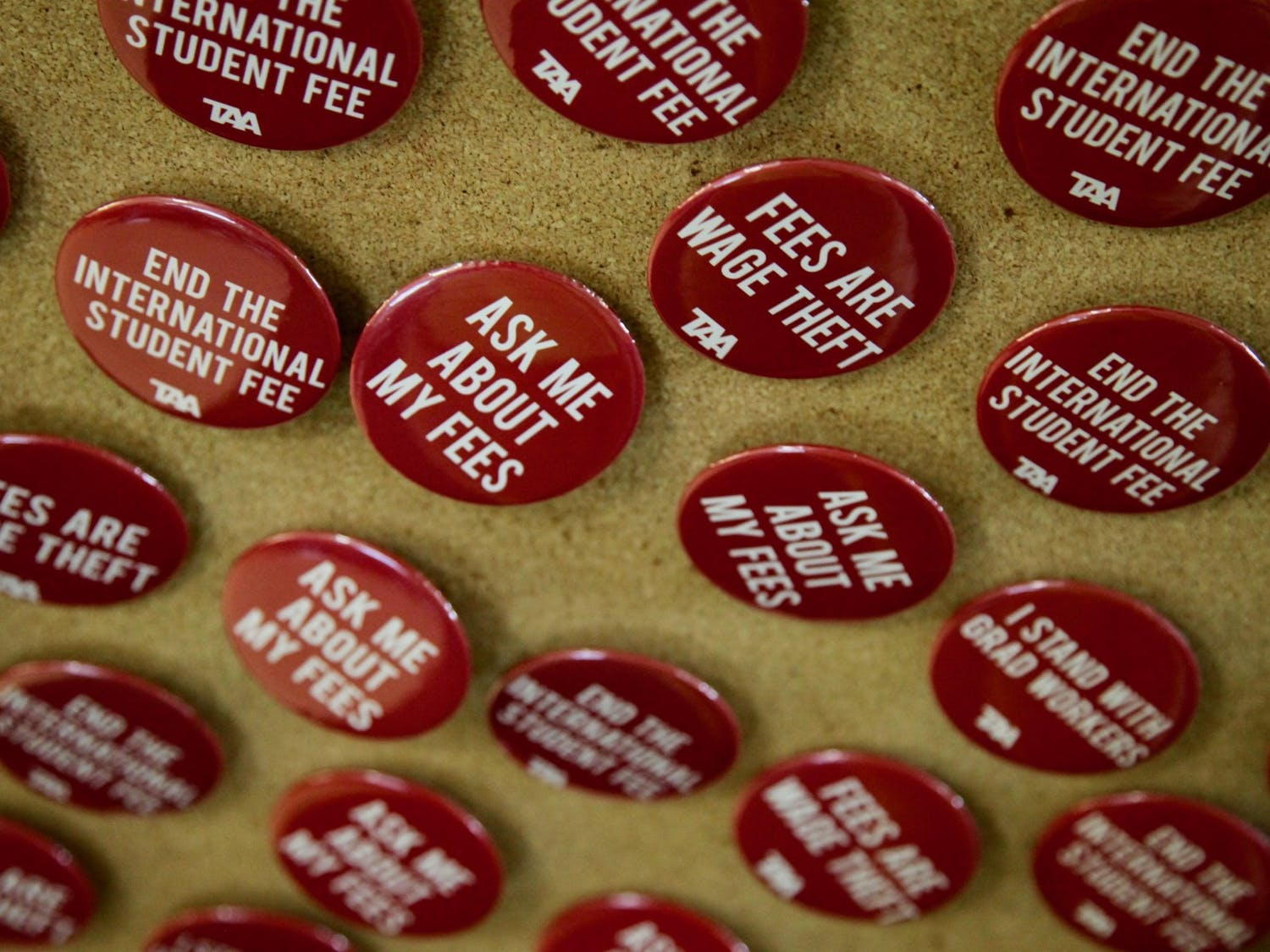"Photo of buttons which say ""ask me about my fees"" and ""end the international student fee""."