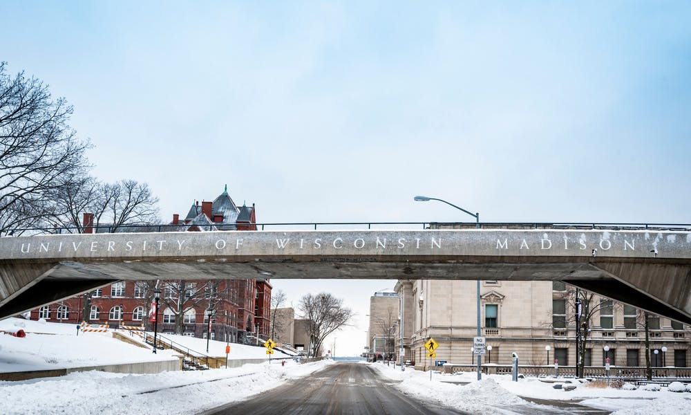 Pictures the UW-Madison campus in the snow and the footbridge between Bascom Hill and Mosse Humanities