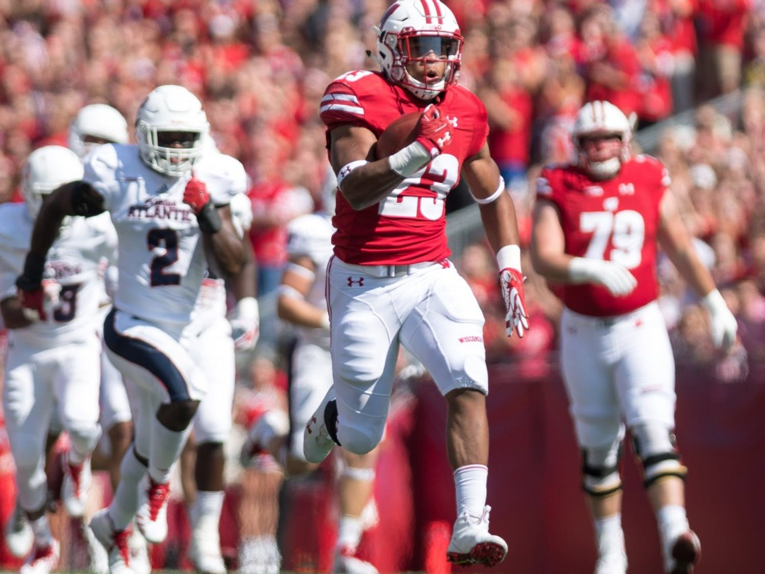Freshman running back Jonathan Taylor had a historic day on the ground, finishing UW's win over Florida Atlantic with 223 yards and three touchdowns.
