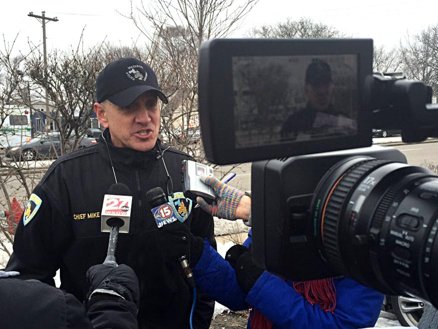MPD Chief Mike Koval addresses reporters after a nine-hour police standoff in East Madison.